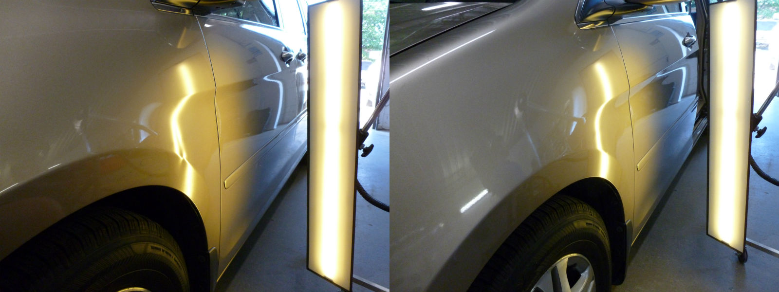 Door Ding on the Left Fender of a Honda Odyssey Before and After Paintless Dent Repair & Door Ding on the Left Fender of a Honda Odyssey Before and After ...