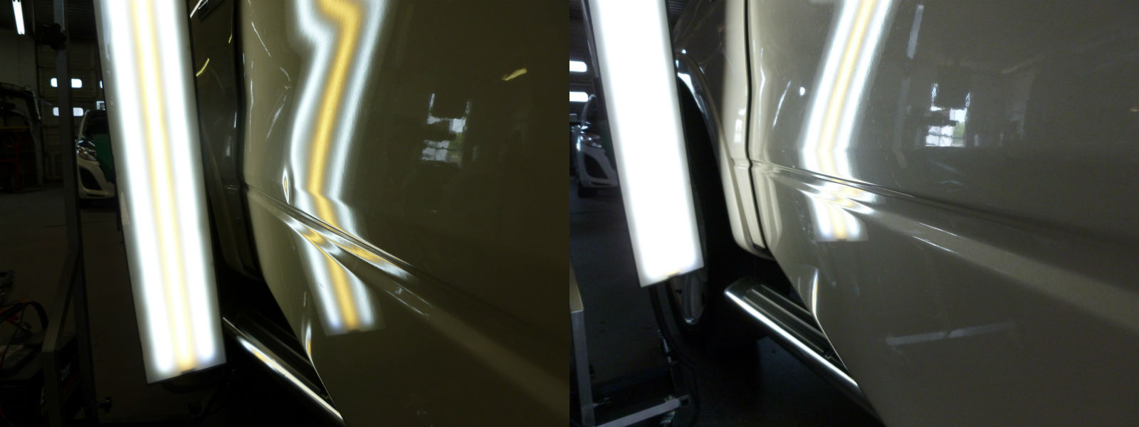How Much Does It Cost To Paint A Car >> Door Ding on the Left Front Door of a Ford F150 Before and ...