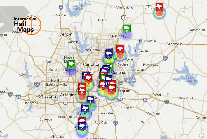 Interactive map of hail reports from hail storm of April 28 2012