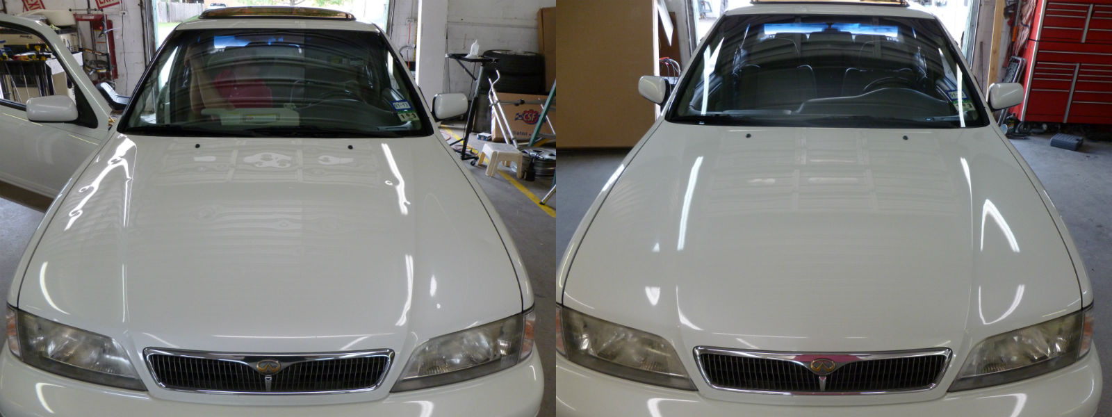 How Much Does It Cost To Paint A Car >> 2001 Infiniti G20 Hood with Hail Damage Before and After ...