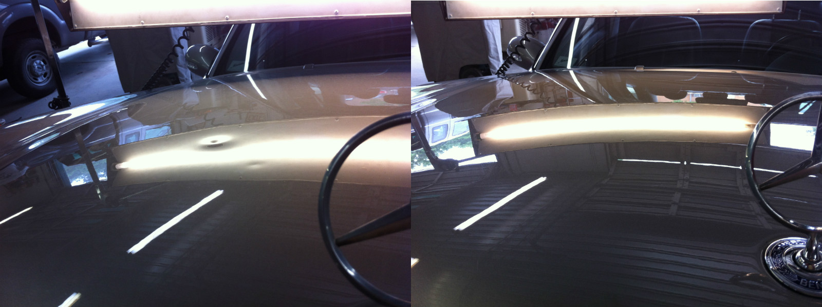 Paintless Dent Repair Cost >> Mercedes E350 Aluminum Hood with Hail Damage Before and After PDR Repair - Dent Biz - Paintless ...